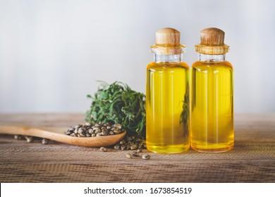 Hemp oil n a glass jar and hemp seeds, CBD cannabis OIL, natural herb,  medical marijuana concept.