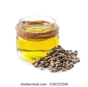 Hemp oil and hemp seeds isolated on white backgrounds.