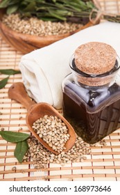 hemp oil in a vessel with seeds