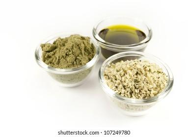 hemp products: oil, powder, seeds