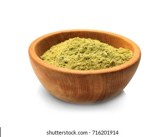 Hemp protein powder in wooden bowl, isolated on white