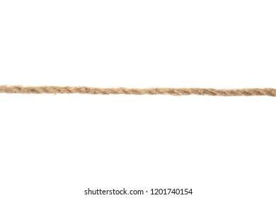 Hemp rope on white background. Organic material