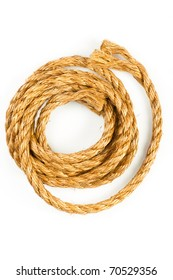 Hemp rope on white background