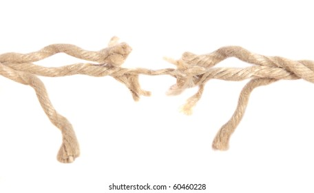 Hemp rope right before ripping apart. All isolated on white background.