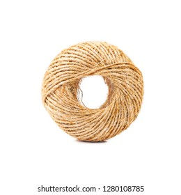 Hemp rope roll isolated on white background.