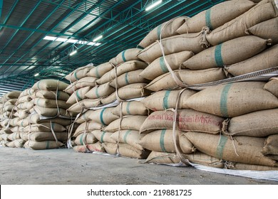 hemp sacks containing rice