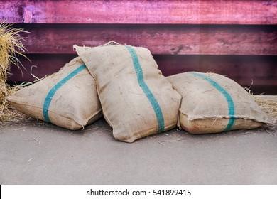 hemp sacks containing rice