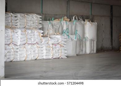Hemp sacks containing rice in warehouse