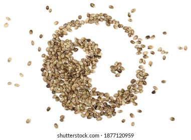 Hemp seed yin yang symbol isolated on white background, top view