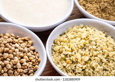 hemp seeds, hearts, milk and protein powder - a set of small ceramic bowls