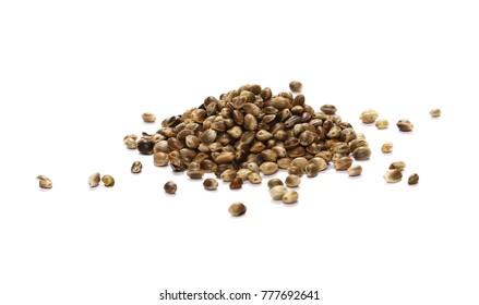 Hemp seeds isolated on white background