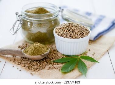 hemp seeds, hemp oil and hemp flour