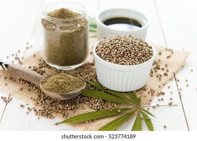 hemp seeds, oil and flour