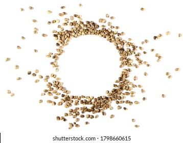Hemp seeds pile, round frame and border isolated on white background, top view