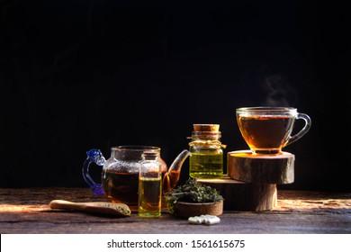 Hemp tea, herbal health drink with hemp oil for health and cannabis seeds