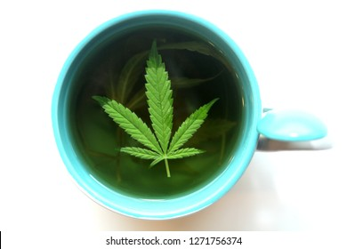 Hemp Tea. Marijuana Tea in a Tea Cup with a Cannabis Leaf and a Stem with Leaves and Flowers. Isolated on white. Room for text.
