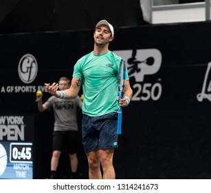 Hempstead, NY - February 15, 2019: Jordan Thompson of Australia reacts during quarterfinal match against John Isner of USA at ATP 250 New York Open 2019 tennis tournament at Nassau Coliseum
