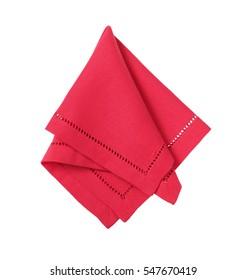 Hemstitched red linen dinner napkin