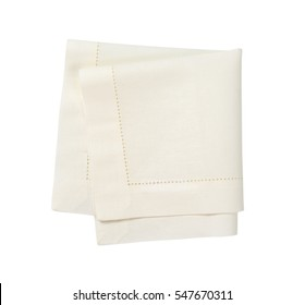 Hemstitched white linen dinner napkin