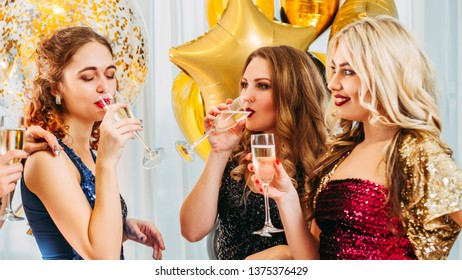 Hen party. Female friendship. Girls looking jealous of their bestie. Fake happiness for lucky woman.