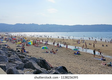 HENDAYE, FRANCE -8 JUL 2018- View of the Plage d'Hendaye (Hendaye Beach) in the Basque Country, France.