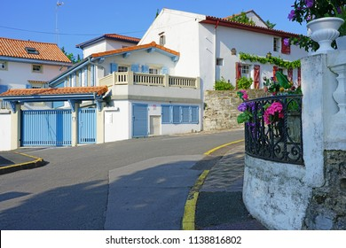 HENDAYE, FRANCE -8 JUL 2018- View of a  building in Hendaye, a seashore resort coastal town in the Basque Country, France, at the border with Spain.
