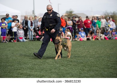 Henderson, Nevada - March 5th, 2016: At the annual Bark in the Park event, a police dog and his handler during a working dog demonstration.