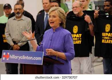 HENDERSON, NV - OCTOBER 14, 2015: Democratic U.S. presidential candidate & former Secretary of State Hillary Clinton speaks at International Union of Painters and Allied Trades (IUPAT) training center