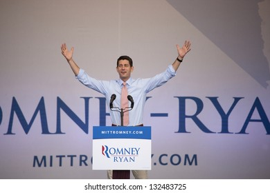 HENDERSON, NV - OCTOBER 23:  Paul Ryan of Wisconsin, Republican Candidate for Vice President, campaigns for Mitt Romney at Henderson Pavilion on October 23, 2012 in Henderson, Nevada.