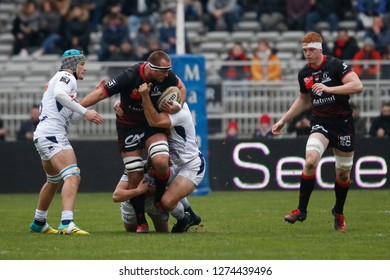 Hendrik Lambertus Roodt of Lyon and Felix Lambey of Lyon during the French championship Top 14 rugby union match between Lyon OU and SU Agen on December 29, 2018 at Matmut stadium in Lyon, France