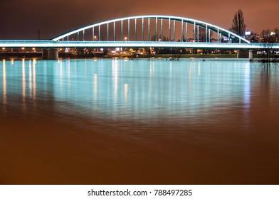 Hendrix bridge over Sava river in Zagreb - Croatia.