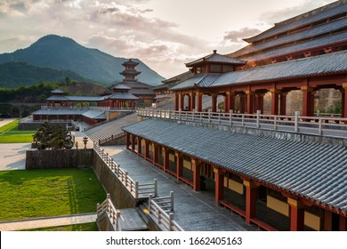 Hengdian film and television base, Hangzhou, China - December 29, 2019: a Tang Dynasty building in the film and television base.