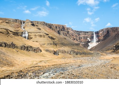 Hengifoss waterfall in east Iceland on a sunny summer day
