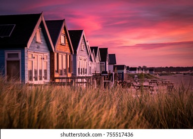 Hengistbury Head Beach Huts at Sunrise