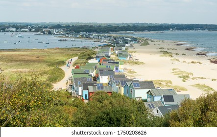 Hengistbury Head, Dorset / United Kingdom - October 01 2015: A view from Hengistbury Head with Christchurch harbour at top left of the scene.