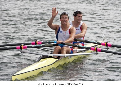HENLEY, ENGLAND. 04-07-2010.   C. Berrest & J. Bahain, FRA celebrate winning The Double Sculls Challenge Cup on day 5 of the Henley Royal Regatta 2010 held on the River Thames.