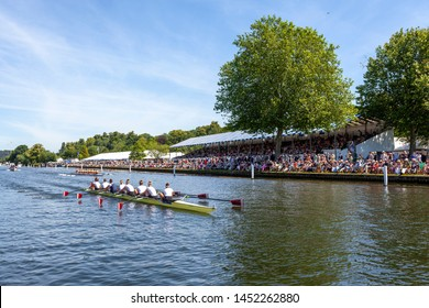 henley on thames, oxfordshire, UK July 7 2019  mens eights rowing crews compete at the Henley Royal Regatta
