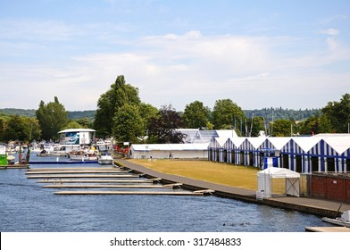 HENLEY-ON-THAMES, UK - JULY 10, 2015 - Henley Regatta Hospitality chalets and moorings alongside the River Thames, Henley-on-Thames, Oxfordshire, England, UK, Western Europe, July 10, 2015.