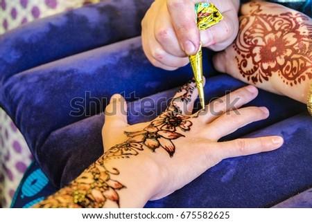Henna Art Mehndi Henna Hands Drawing Stock Photo Edit Now