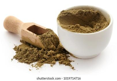Henna hair dye powder in bowl over white background