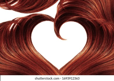 Henna hair in shape of heart, isolated on white background