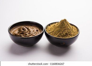 Henna / Mehandi powder and paste. Prepared for Hair colouring or for tattoo on hand in Indian weddings/festivals. selective focus