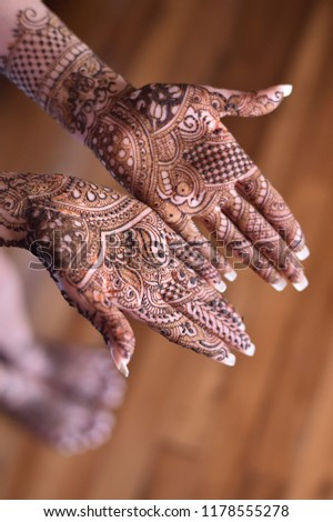 Henna On Hands Indian Wedding Stock Photo Edit Now 1178555278