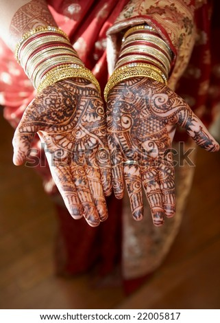 Henna On Hands Wedding Bride India Stock Photo Edit Now 22005817