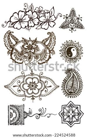 Henna Patterns On White Background Stock Photo Edit Now 224524588