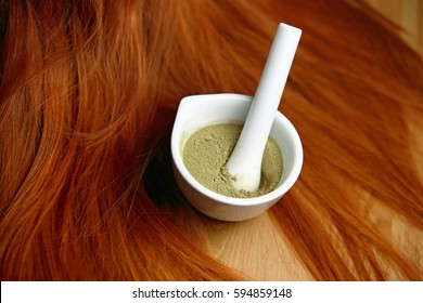 Henna powder with red hair