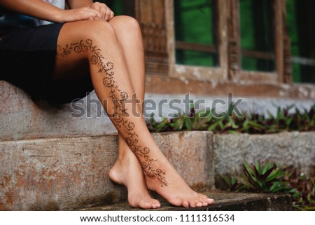 Henna Tattoo Design On Legs Beautiful Stock Photo Edit Now