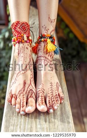 Henna Tattoo Design On Legs Beautiful Stock Photo Edit Now