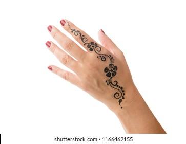 Henna tattoo on female hand isolated on white background.