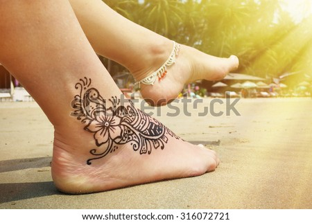 Henna Tattoo On Foot Palolem Beach Stock Photo Edit Now 316072721
